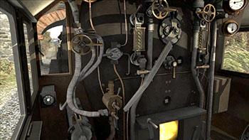 Image inside the cab of a Black 5 engine